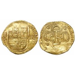 Seville, Spain, cob 2 escudos, Philip II, assayer Gothic D with open right side below mintmark S to