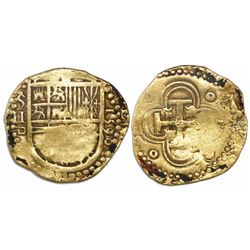 Seville, Spain, cob 2 escudos, 1590 date to right, assayer Gothic D below mintmark S and denominatio