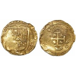 Seville, Spain, cob 2 escudos, 1597 date to right, assayer not visible.