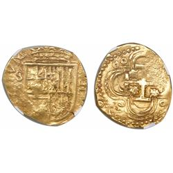 Seville, Spain, cob 2 escudos, Philip III, assayer B below mintmark S to left, encapsulated NGC AU 5