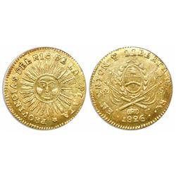 Argentina (River Plate Provinces), La Rioja mint, 2 escudos, 1826, coin alignment.