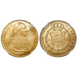 Potosi, Bolivia, bust 8 escudos, Charles IV, 1803PJ, encapsulated NGC AU 55.