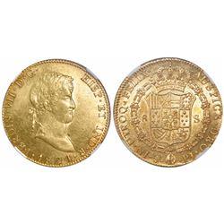 Potosi, Bolivia, bust 8 escudos, Ferdinand VII, 1824PJ, encapsulated NGC AU 50.