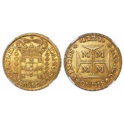 Brazil (Minas mint), 10,000 reis, Joao V, 1727-M, encapsulated NGC MS 61.