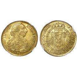 Santiago, Chile, bust 8 escudos, Charles III, 1786DA, encapsulated NGC AU 58.