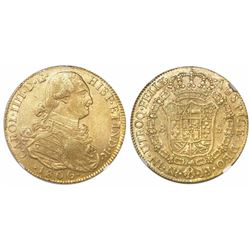 Bogota, Colombia, bust 8 escudos, Charles IV, 1806JJ, encapsulated NGC AU details / surface hairline