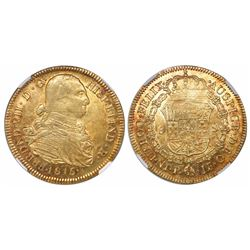 Bogota, Colombia, bust 8 escudos, Ferdinand VII (bust of Charles IV), 1815JF, encapsulated NGC AU 58