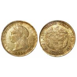 Bogota, Colombia, 20 pesos, 1859, encapsulated PCGS XF 45, very rare.