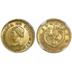 Bogota, Colombia, 1 peso, 1827RR, encapsulated NGC AU 55.