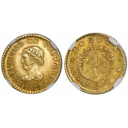 Bogota, Colombia, 1 peso, 1829RS, encapsulated NGC AU 58.