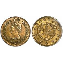 Bogota, Colombia, 1 peso, 1829RS, encapsulated NGC AU 55.