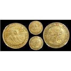 Costa Rica (Central American Republic), 8 escudos, 1828F, rare, encapsulated NGC AU details / rev dr