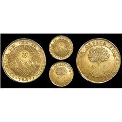 Costa Rica (Central American Republic), 4 escudos, 1837E, rare, encapsulated NGC MS 63.