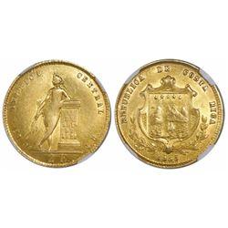 Costa Rica, 2 escudos, 1855, encapsulated NGC AU 58.