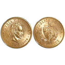 Cuba, 10 pesos, 1916, encapsulated NGC MS 62.
