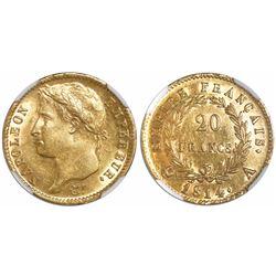 France (Paris mint), 20 francs, Napoleon, 1814-A, encapsulated NGC AU 58.