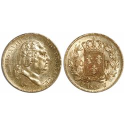 France (Lille mint), 40 francs, Louis XVIII, 1818-W.