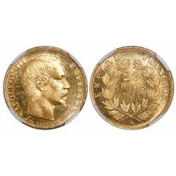 France (Paris mint), 20 francs, Napoleon III, 1853-A, encapsulated NGC MS 63.
