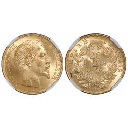 France (Paris mint), 20 francs, Napoleon III, 1854-A, encapsulated NGC MS 64.