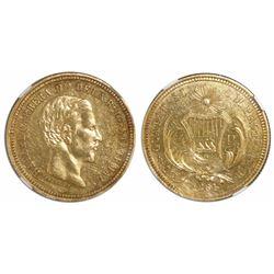 Guatemala, 4 pesos, 1861R, Carrera, encapsulated NGC AU 55, ex-Richard Stuart (designated on label).