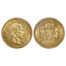 Guatemala, 4 pesos, 1862R, Carrera, encapsulated NGC AU 55, ex-Richard Stuart (designated on label).