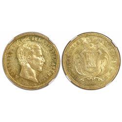 Guatemala, 4 pesos, 1866R, Carrera (small bust), rare, encapsulated NGC AU 55, ex-Richard Stuart (de
