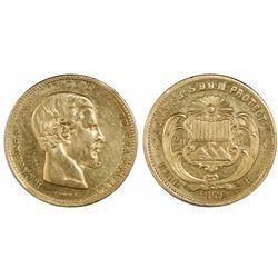 Guatemala, 20 pesos, 1869R, Carrera, ex-Richard Stuart.