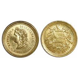 Guatemala, 5 pesos, 1878D, ex-Richard Stuart.