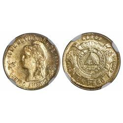 Honduras, 1 peso, 1888, horizontal-8 variety, encapsulated NGC MS 62, ex-Richard Stuart (designated