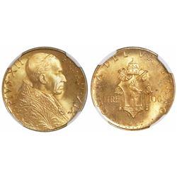 Vatican City (Italian States), 100 lire, Pius XII, 1957 (AN.XIX), encapsulated NGC MS 66.