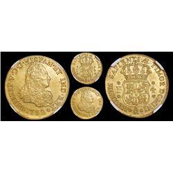 Mexico City, Mexico, bust 4 escudos, Philip V, 1732F, very rare, encapsulated NGC MS 60, finest know