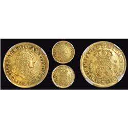 Mexico City, Mexico, bust 2 escudos, Philip V, 1732F, extremely rare, encapsulated NGC AU 58, finest