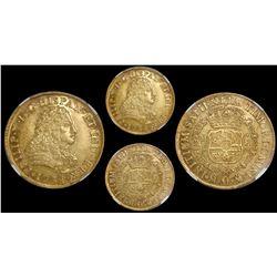 Mexico City, Mexico, bust 8 escudos, Philip V, 1734MF/F, unlisted over-assayer, encapsulated NGC AU