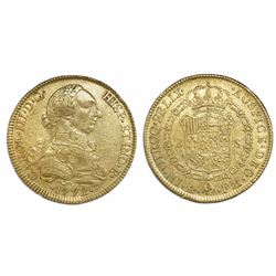 Mexico City, Mexico, bust 8 escudos, Charles III, 1772FM.