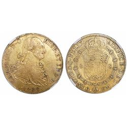 Mexico City, Mexico, bust 8 escudos, Charles IV, 1793FM, encapsulated NGC XF details / surface hairl