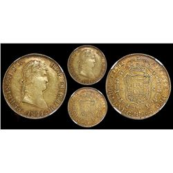 Guadalajara, Mexico, bust 8 escudos, Ferdinand VII, bare bust, 1821FS, rare, encapsulated NGC AU 53.