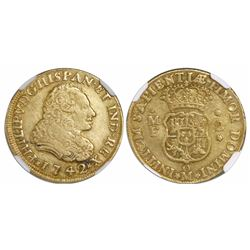 Mexico City, Mexico, bust 2 escudos, Philip V, 1742MF, rare, encapsulated VF 35, finest and only spe