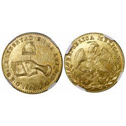 Guadalajara, Mexico, 2 escudos, 1858JG, encapsulated NGC MS 62.