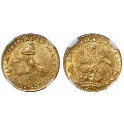 Mexico City, Mexico, 1/2 escudo, 1856/4GF, encapsulated NGC MS 62.