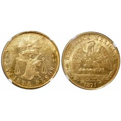 Culiacan, Mexico, 20 pesos, 1871P, encapsulated NGC MS 61.
