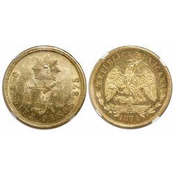 Oaxaca, Mexico, 10 pesos, 1871/68E (overdate not on slab), encapsulated NGC MS 61.