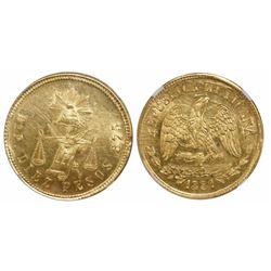 Durango, Mexico, 10 pesos, 1881/79P, encapsulated NGC MS 61.