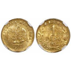 Mexico City, Mexico, 1 peso, 1903M, small date, encapsulated NGC MS 64.