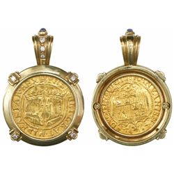 Overijssel, Spanish Netherlands, ducat, Philip II, no date (1590-3), mounted in 18K gold pendant-bez