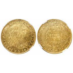Lima, Peru, bust 8 escudos, Ferdinand VI, 1751J, encapsulated NGC AU 58.