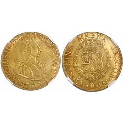 """Lima, Peru, bust 8 escudos, Charles III (small young bust, """"rat nose""""), 1761JM, encapsulated NGC AU"""