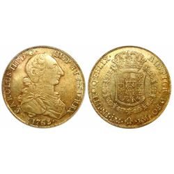 "Lima, Peru, bust 8 escudos, Charles III (large young bust, ""rat nose""), 1763JM, encapsulated NGC XF"