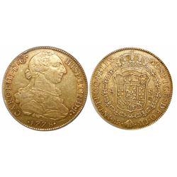 Lima, Peru, bust 8 escudos, Charles III, 1778MJ, encapsulated ANACS AU 50 details / chopmarked.