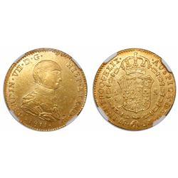 Lima, Peru, bust 2 escudos, Ferdinand VII (small imaginary bust), 1811JP, very rare, encapsulated NG