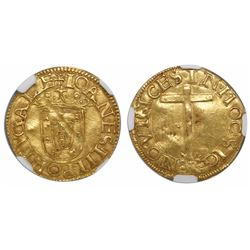 Lisbon, Portugal, cruzado calvario, Joao III, no date (1521-57), encapsulated NGC MS 61.